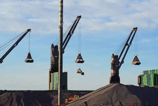 Iron ore pellets loading